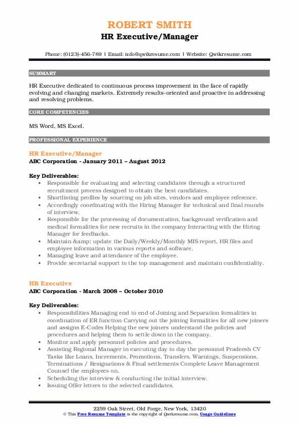 HR Executive/Manager Resume Model