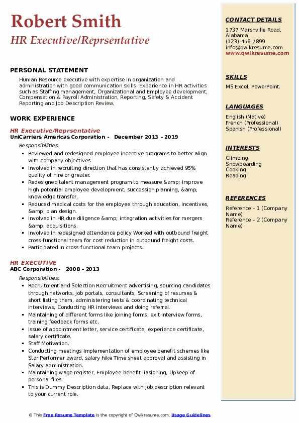 HR Executive/Reprsentative Resume Model
