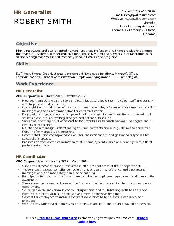 HR Generalist Resume Samples