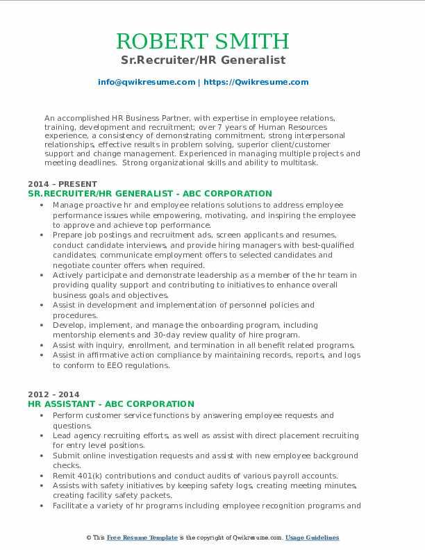 Sr.Recruiter/HR Generalist Resume Sample