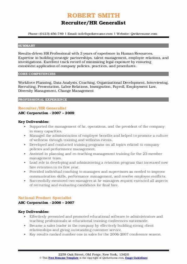 Recruiter/HR Generalist Resume Model
