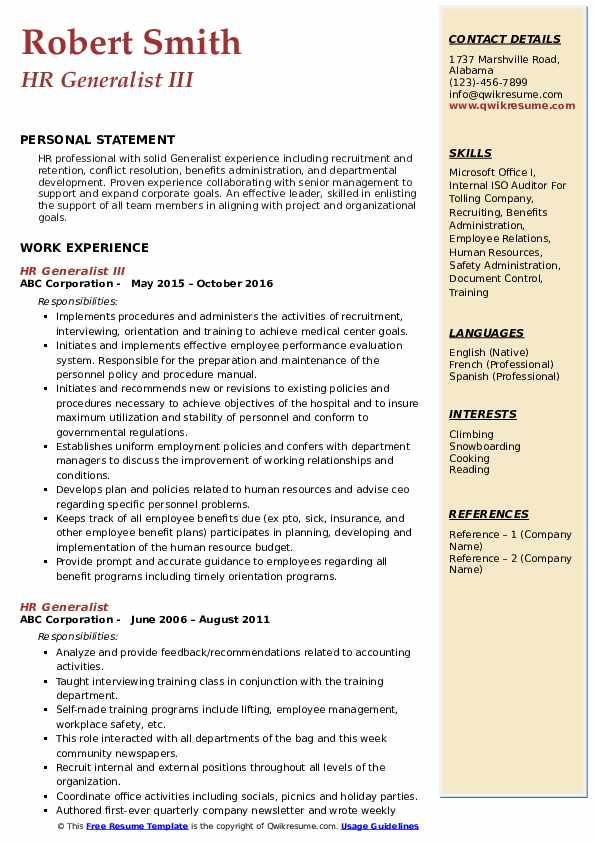 HR Generalist III Resume Format