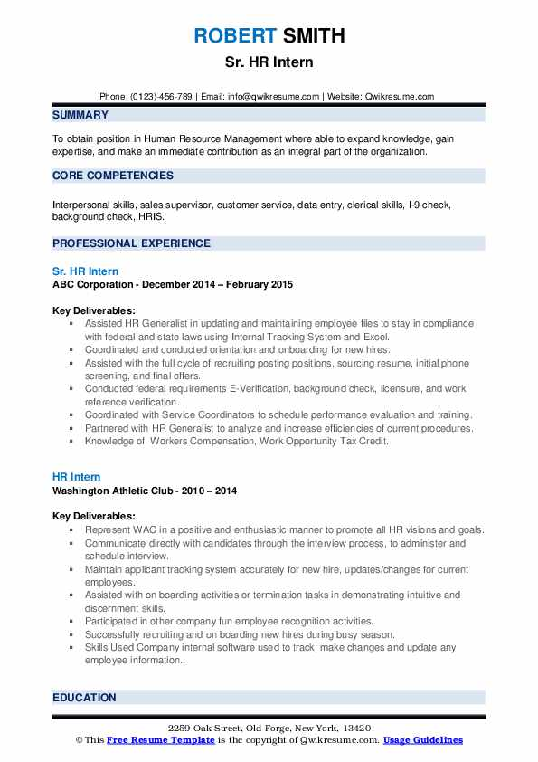Sr. HR Intern Resume Sample