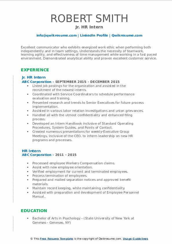 Jr. HR Intern Resume Format
