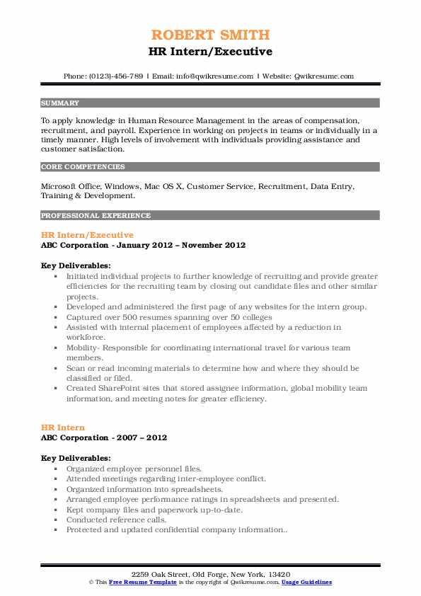 HR Intern/Executive Resume Example