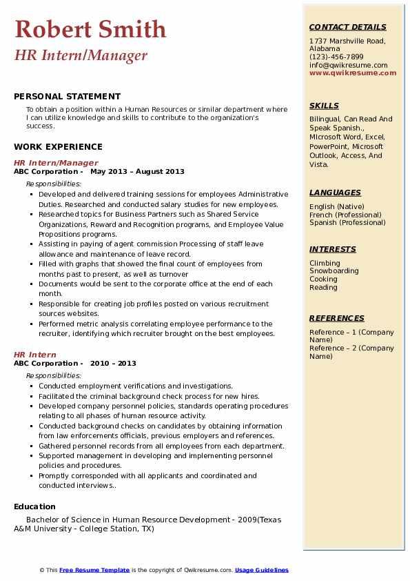 HR Intern/Manager Resume Model