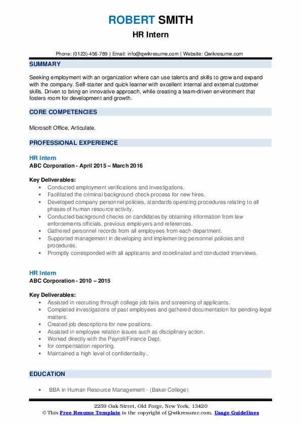 HR Intern Resume example