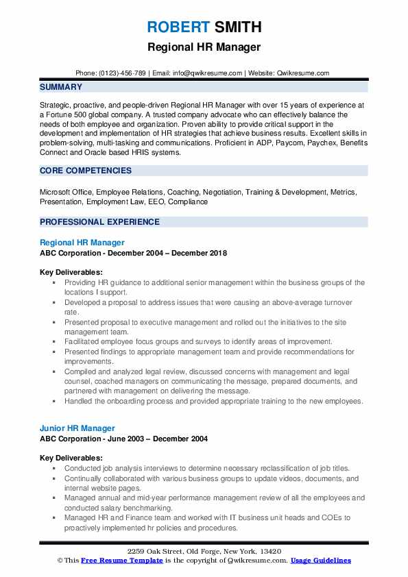Regional HR Manager Resume Template