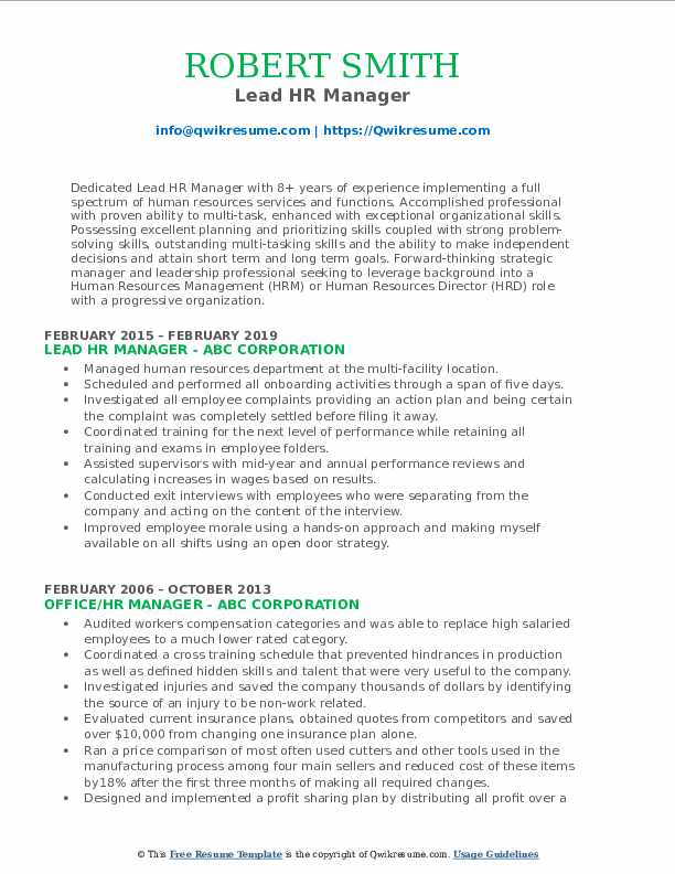 Lead HR Manager Resume Template