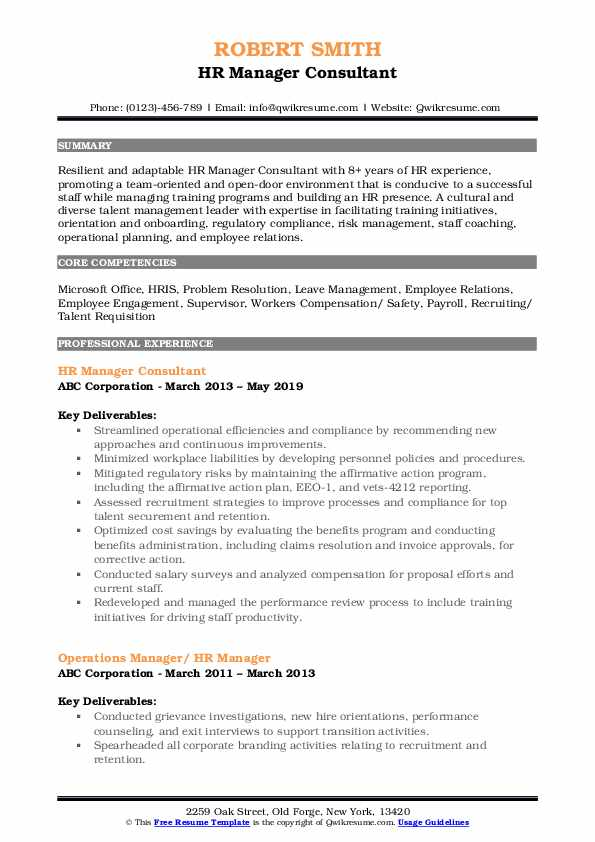HR Manager Consultant Resume Example