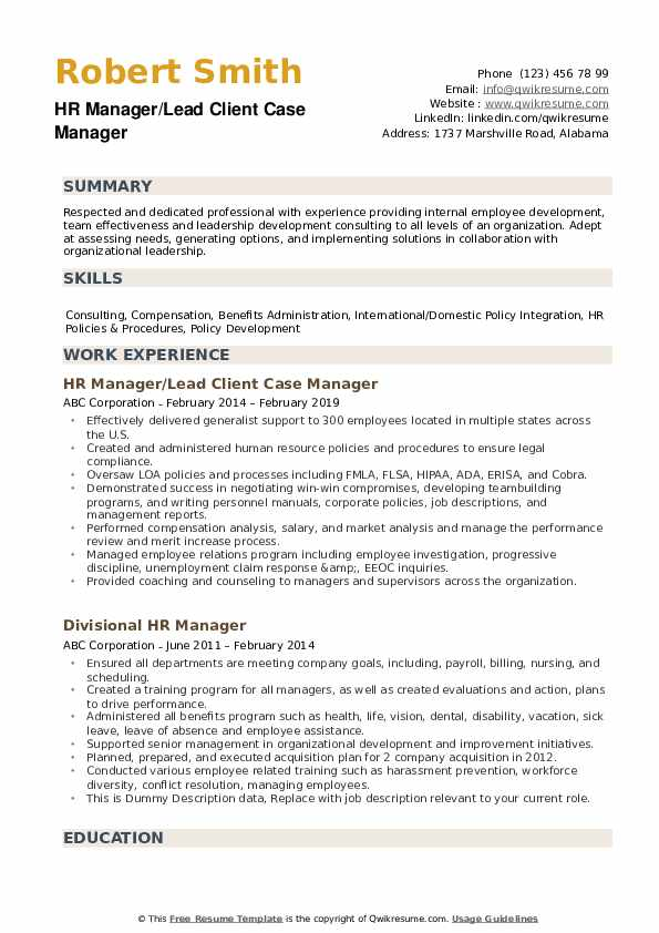 HR Manager Resume example