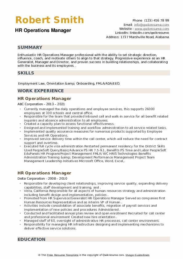 HR Operations Manager Resume example
