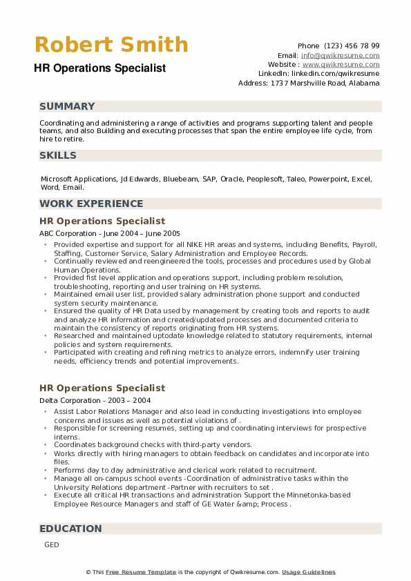 HR Operations Specialist Resume example