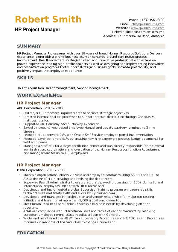 HR Project Manager Resume example
