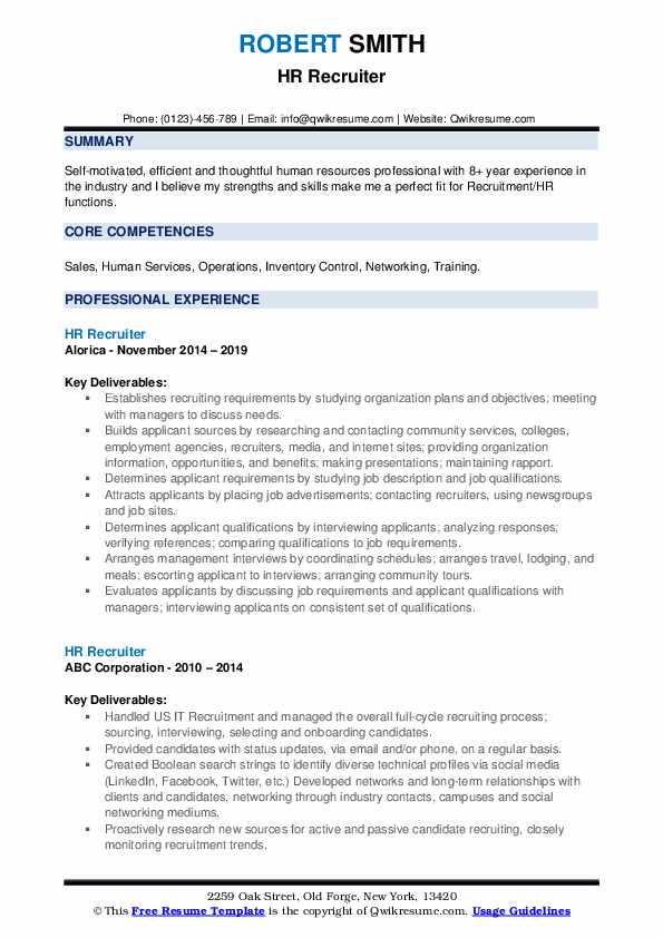 HR Recruiter Resume Model