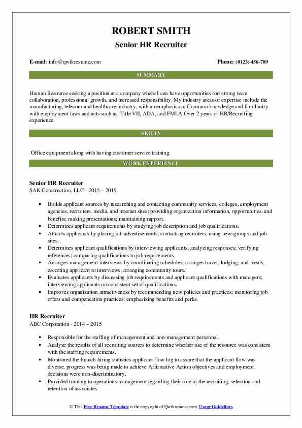 Senior HR Recruiter Resume Sample