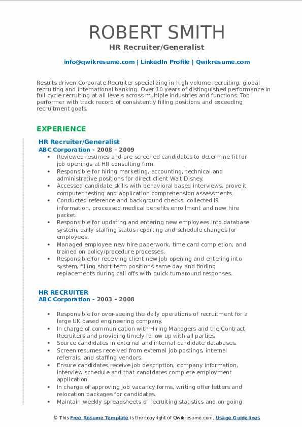 HR Recruiter/Generalist Resume Example