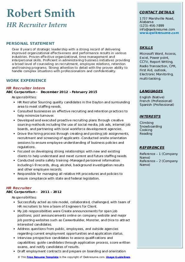 HR Recruiter Intern Resume Example