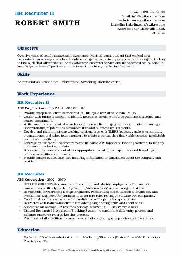 HR Recruiter II Resume Format