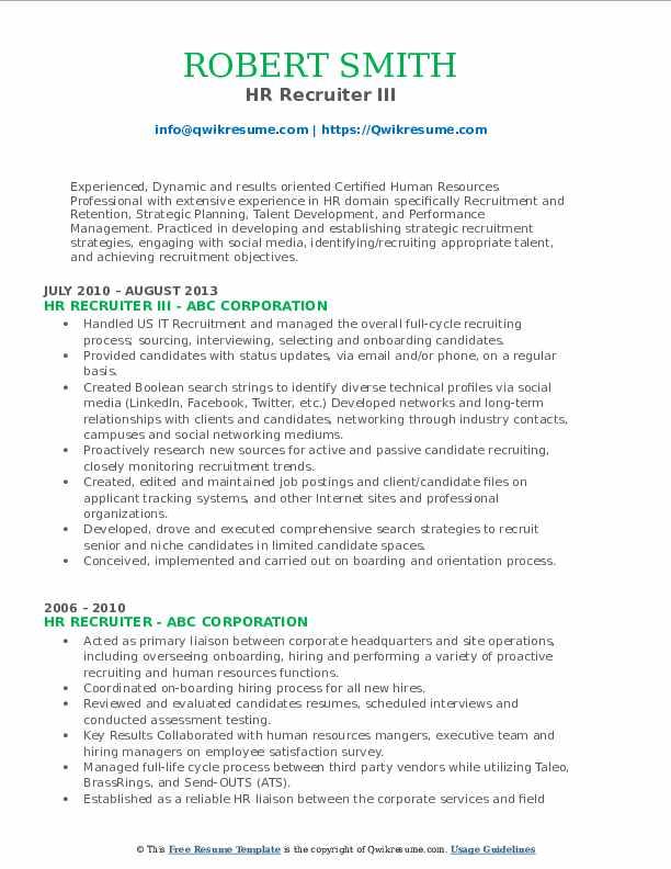 HR Recruiter III Resume Format