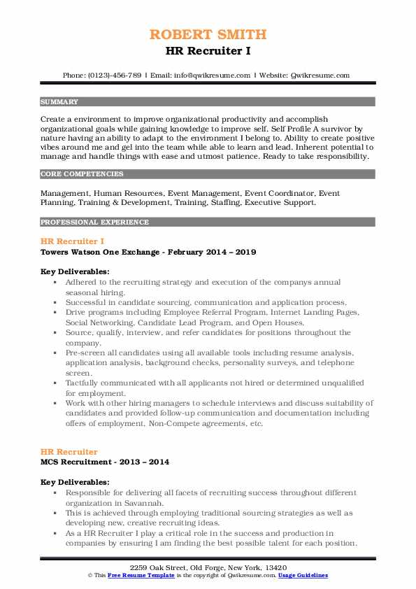HR Recruiter I Resume Model