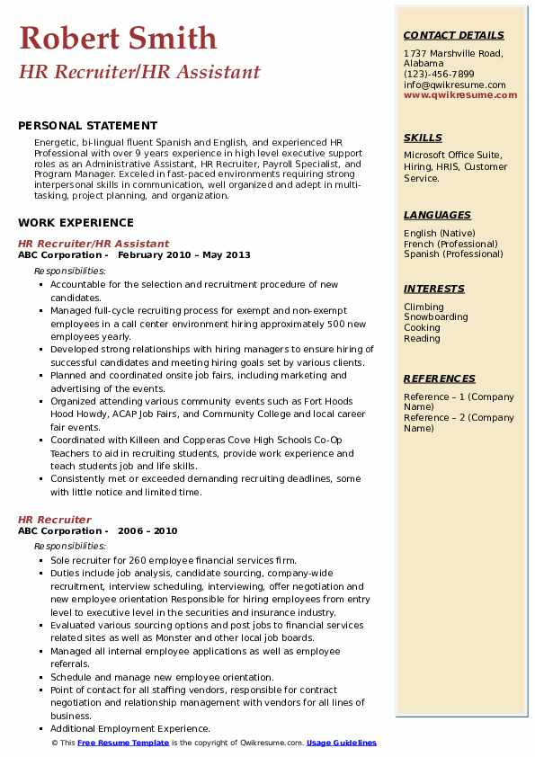 hr recruiter resume samples