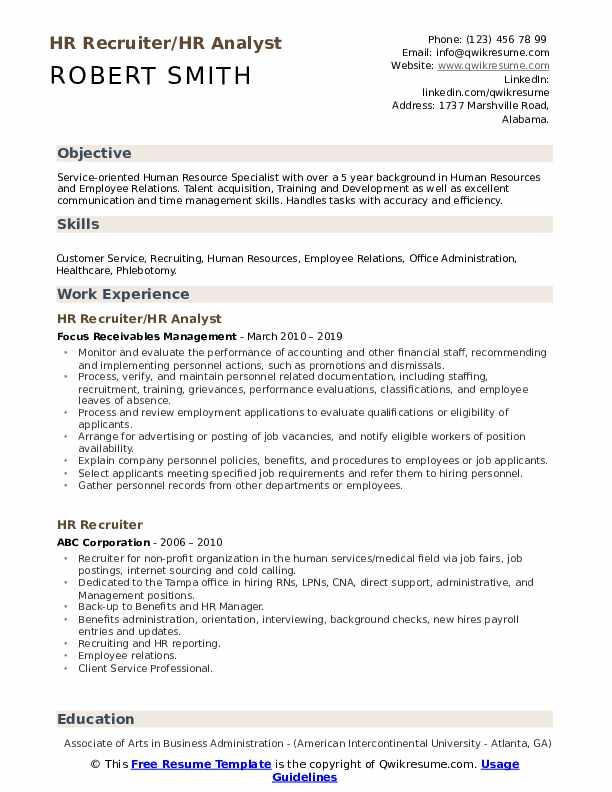 HR Recruiter/HR Analyst Resume Example