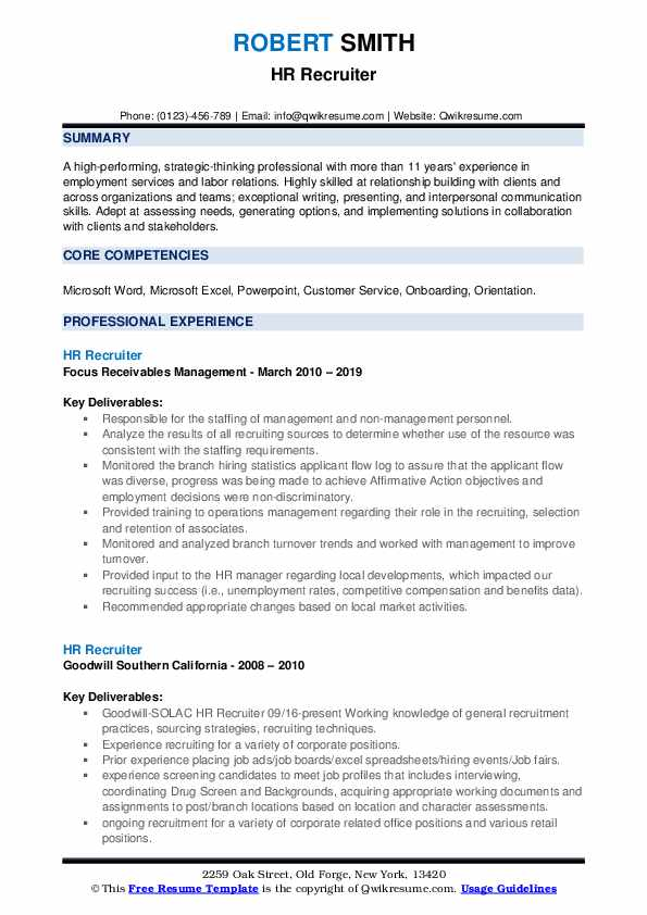 Hr Recruiter Resume Samples Qwikresume