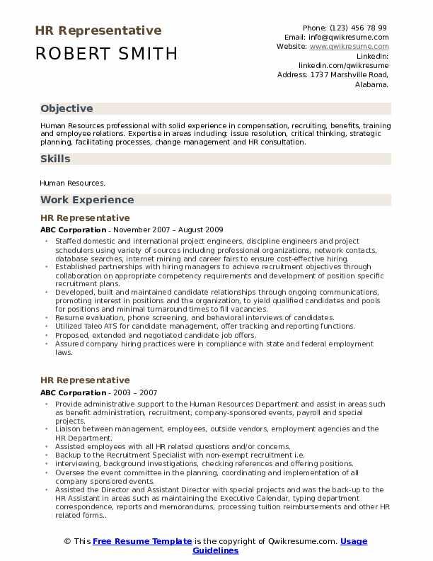 HR Representative Resume Example