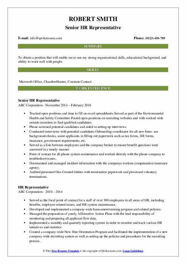 Senior HR Representative Resume Format