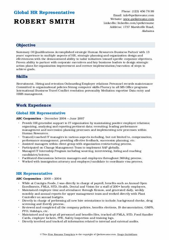 Global HR Representative Resume Model