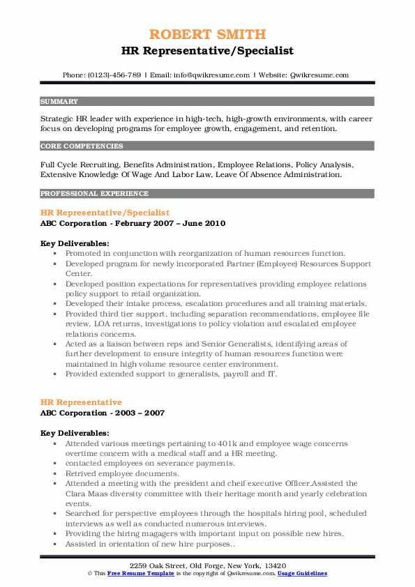 HR Representative/Specialist Resume Template