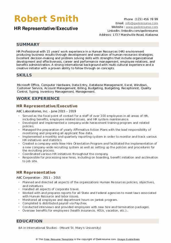 HR Representative/Executive Resume Sample