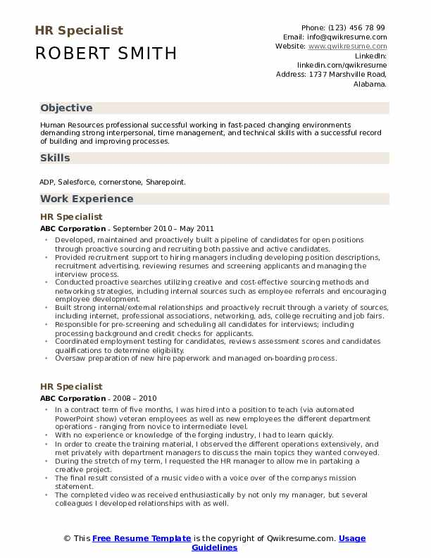 Hr Specialist Resume Samples Qwikresume