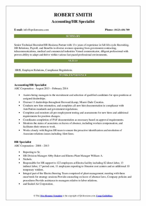 Accounting/HR Specialist Resume Model