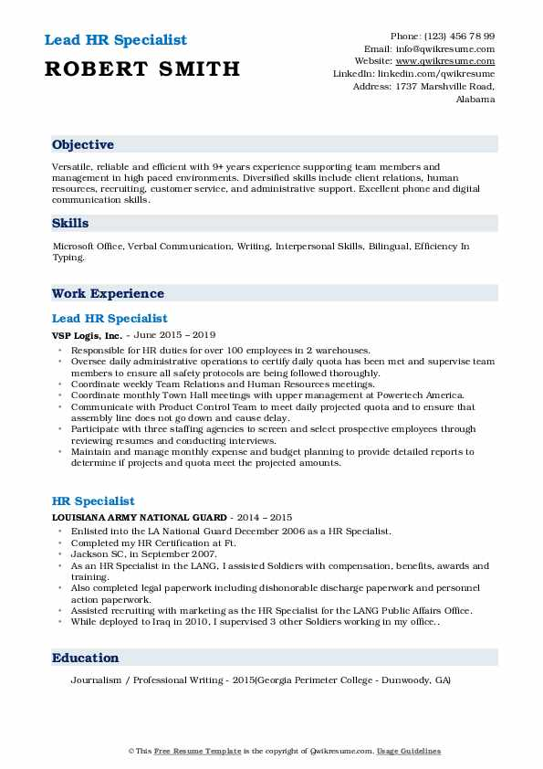 Lead HR Specialist Resume Sample