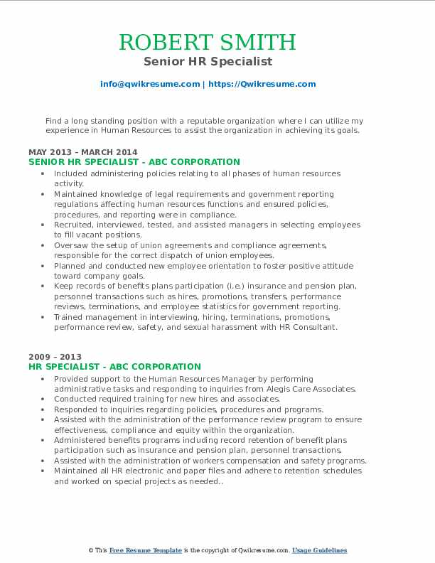Senior HR Specialist Resume Sample