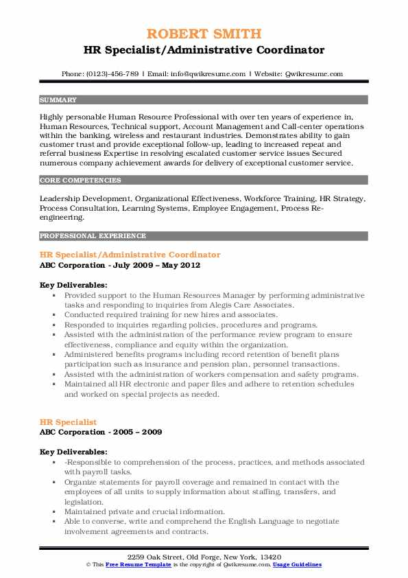 HR Specialist/Administrative Coordinator Resume Model