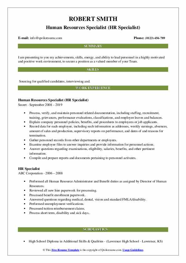Human Resources Specialist (HR Specialist) Resume Model