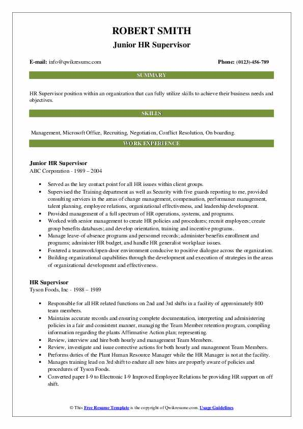 Junior HR Supervisor Resume Model