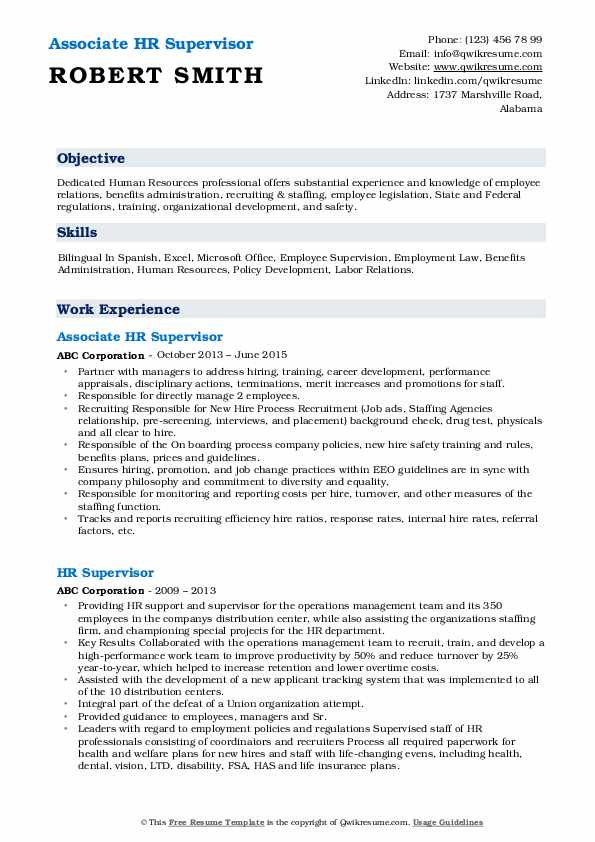 Associate HR Supervisor Resume Template