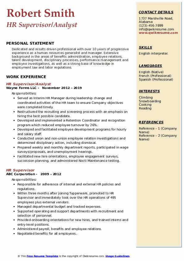 HR Supervisor/Analyst Resume Model