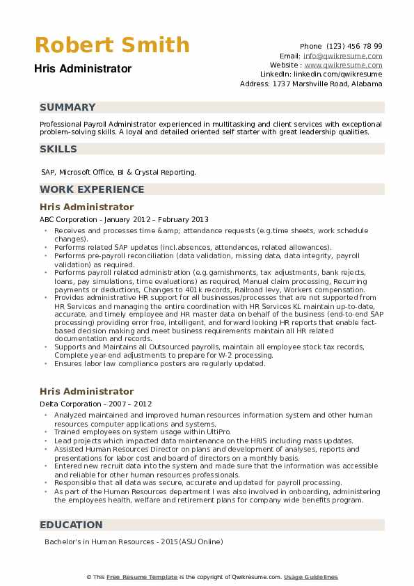 HRIS Administrator Resume example