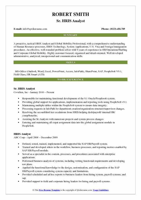 Hris Analyst Resume Samples Qwikresume