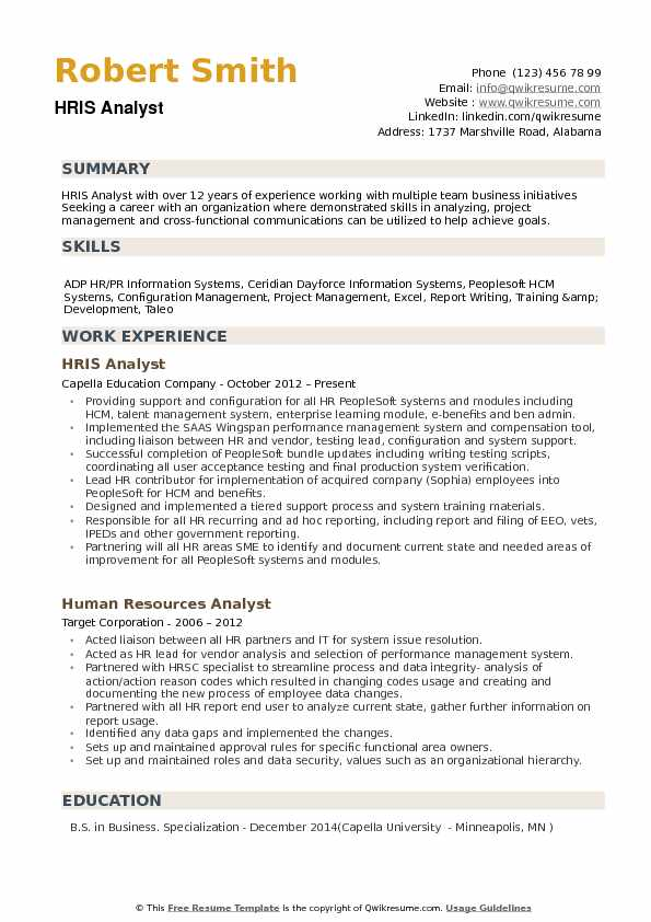 hris analyst resume samples