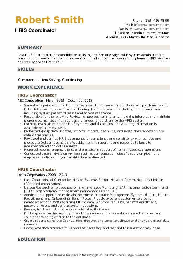 HRIS Coordinator Resume example