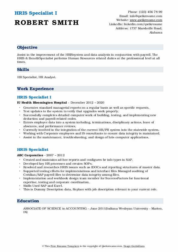 hris specialist resume samples