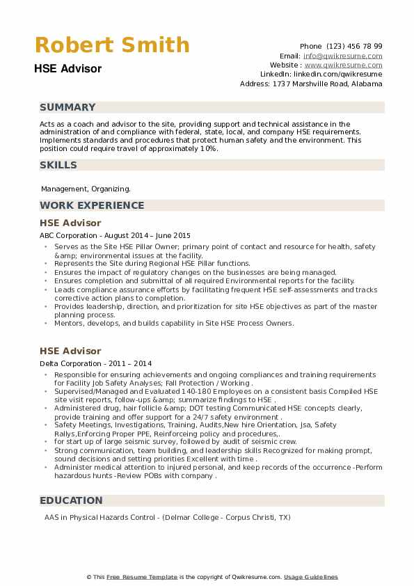 HSE Advisor Resume example