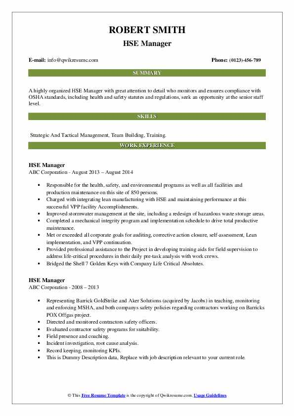 HSE Manager Resume example