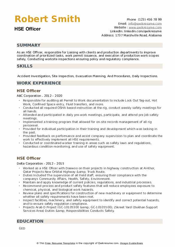 HSE Officer Resume example